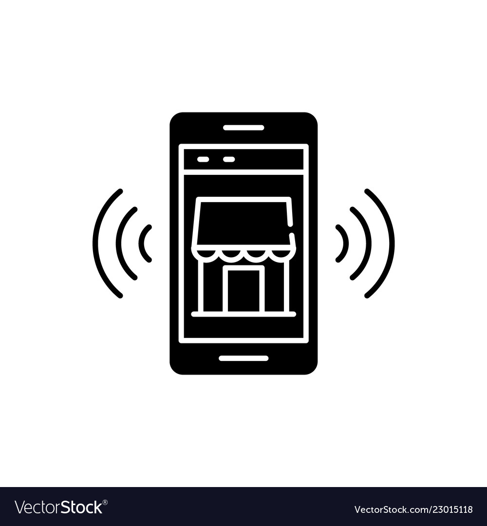 Mobile electronic store black icon sign on