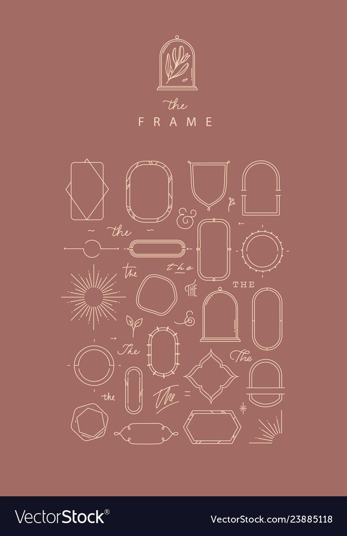Modern frames and elements dark coral