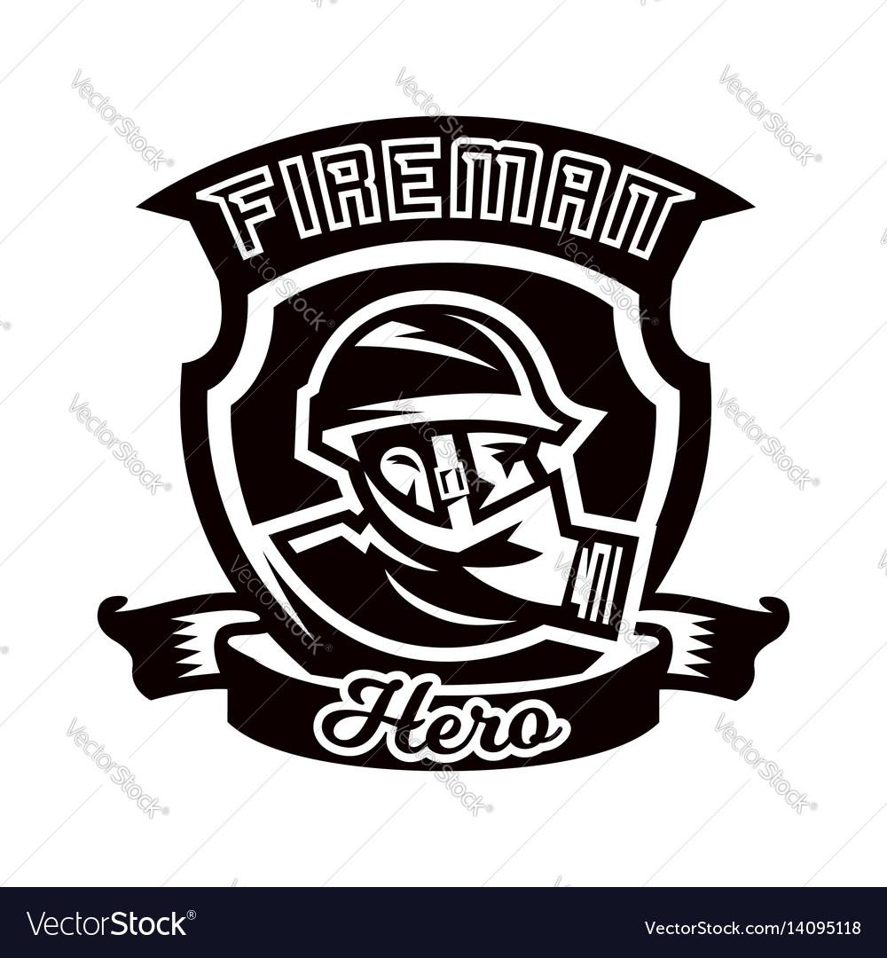 Monochrome logo emblem fireman in a gas mask