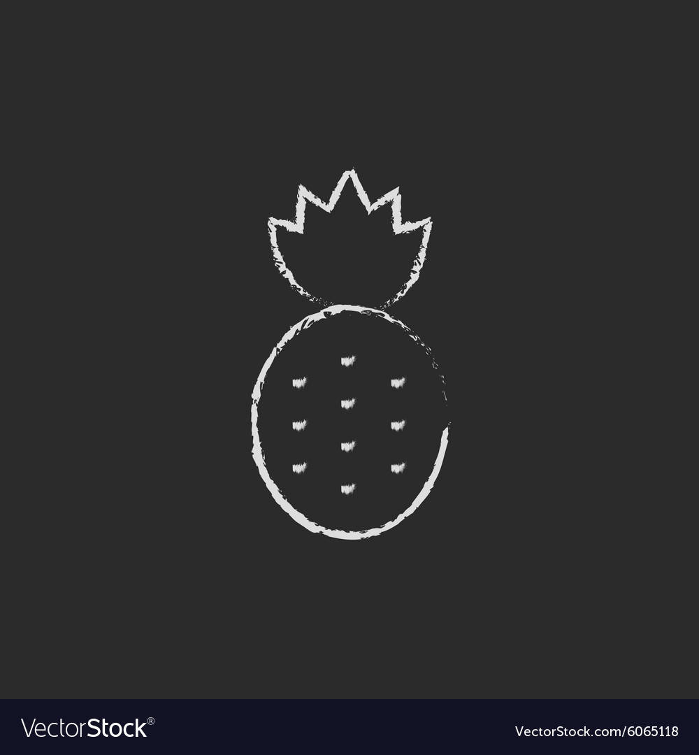 Pineapple Icon Drawn In Chalk