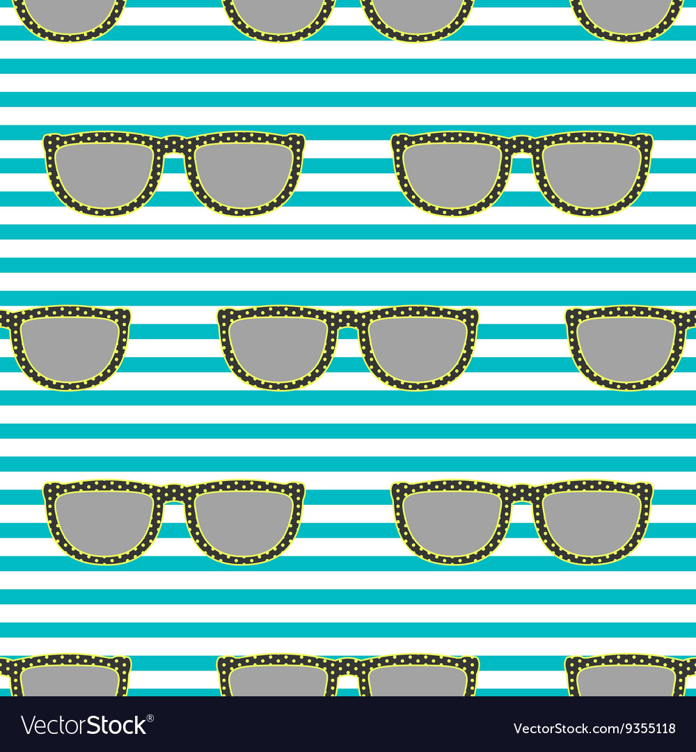 Pop sunglasses retro seamless pattern in neon vector image