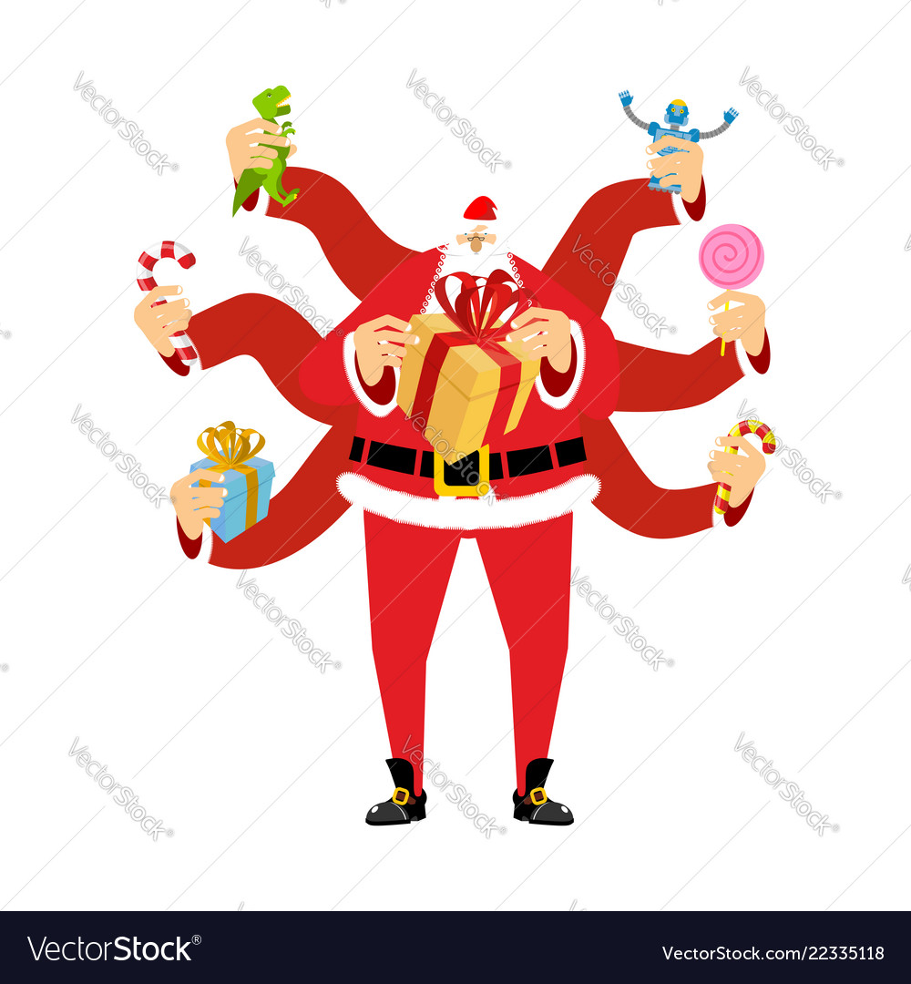 santa claus many hands many gifts for christmas vector image - How Many Gifts For Christmas