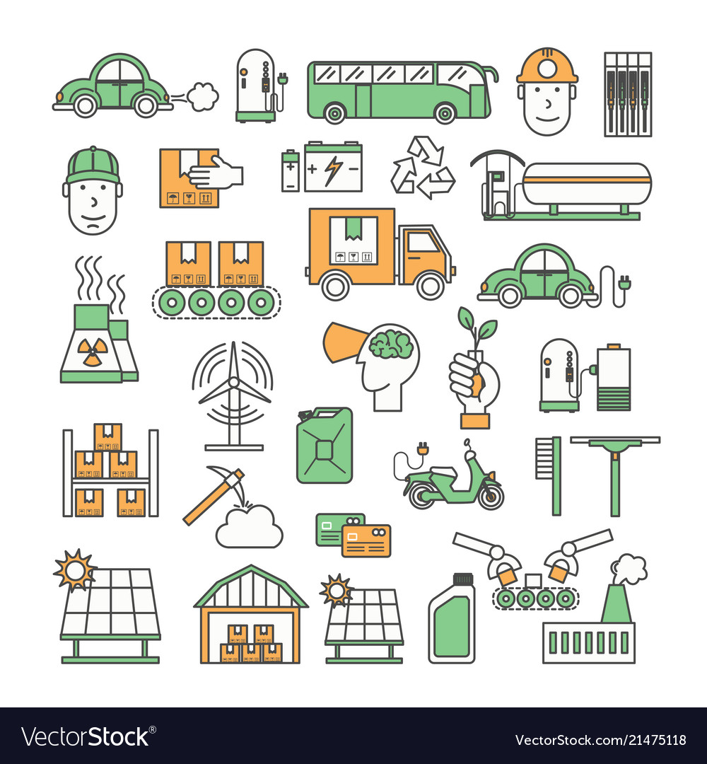 Thin line art ecological factory icon set