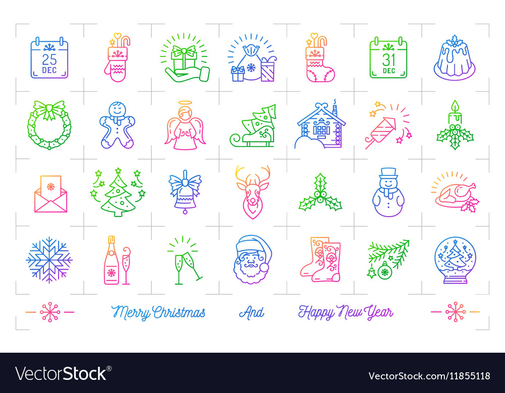 Trendy gradient Christmas icons set Winter