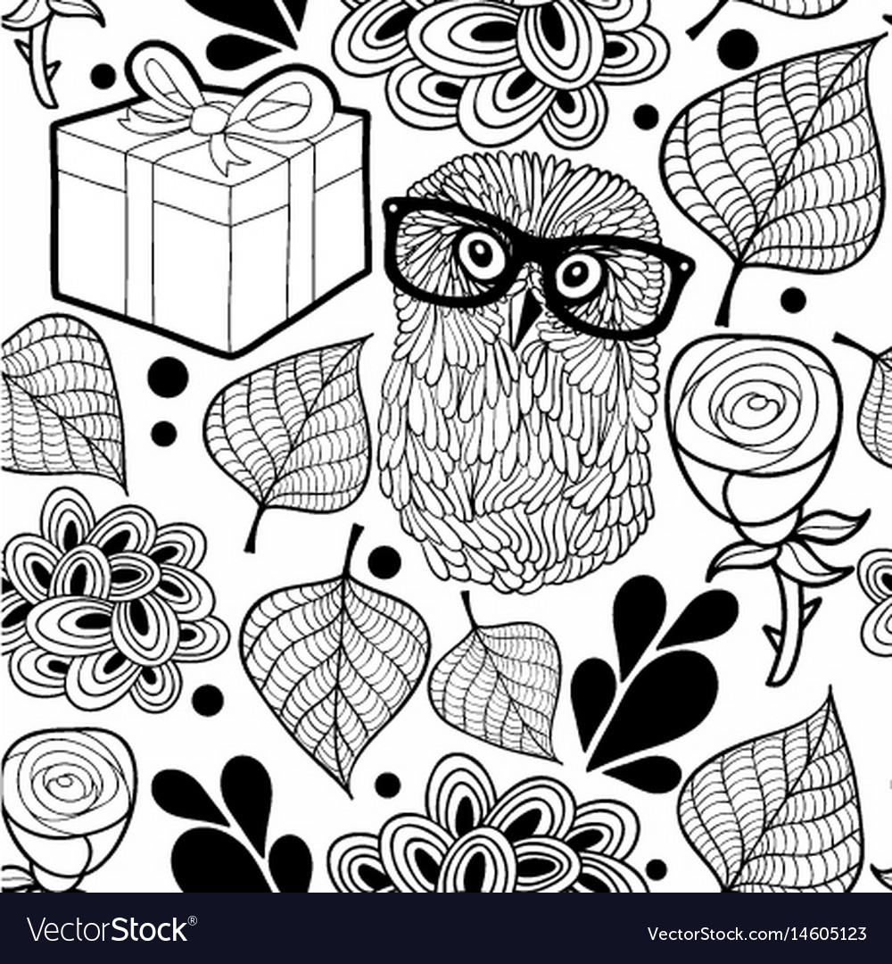 Black and white pattern with owl and gifts