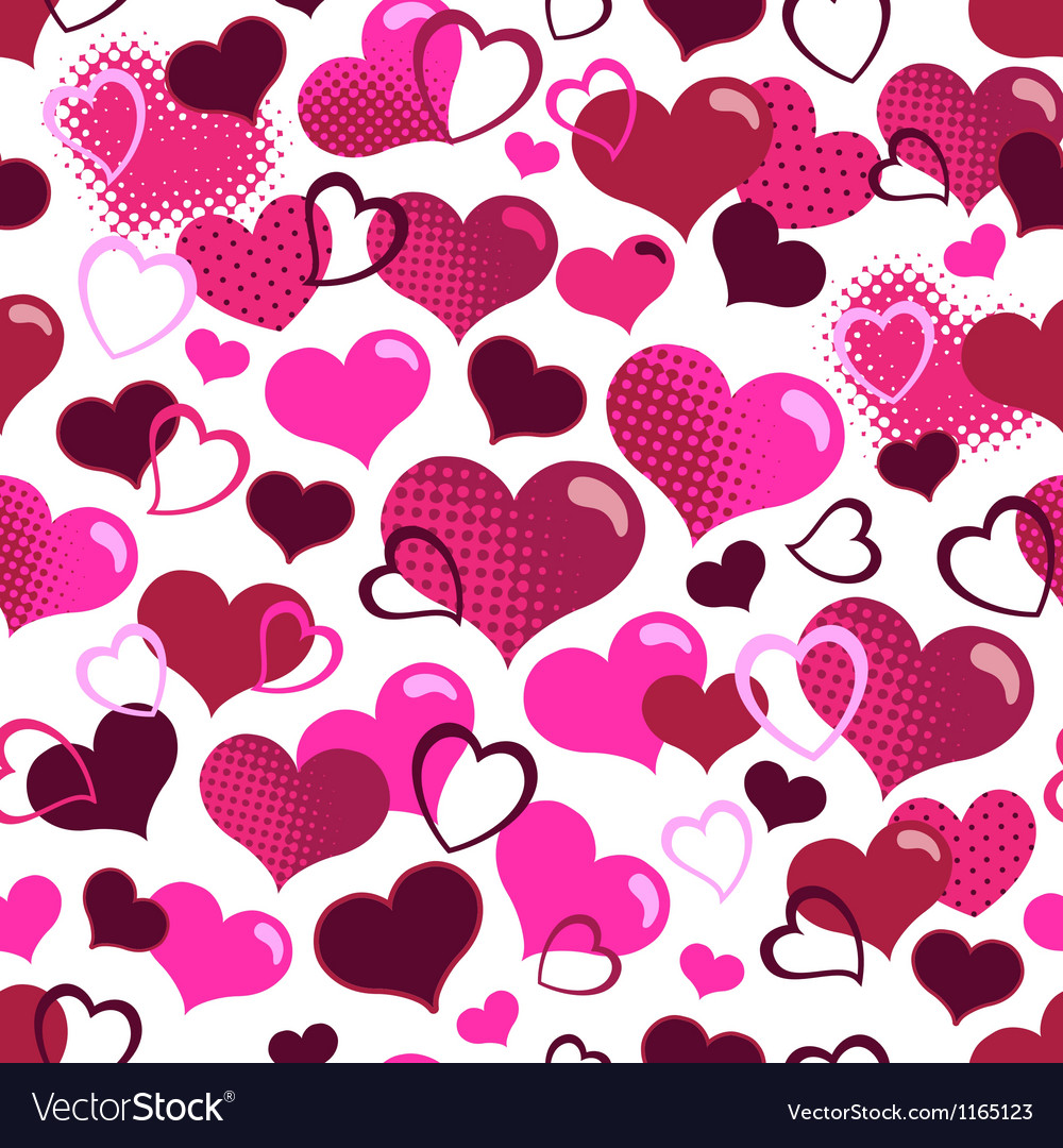 Cute hearts seamless background vector image