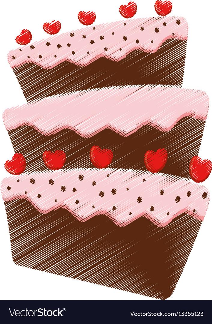 Drawing cake dessert red heart