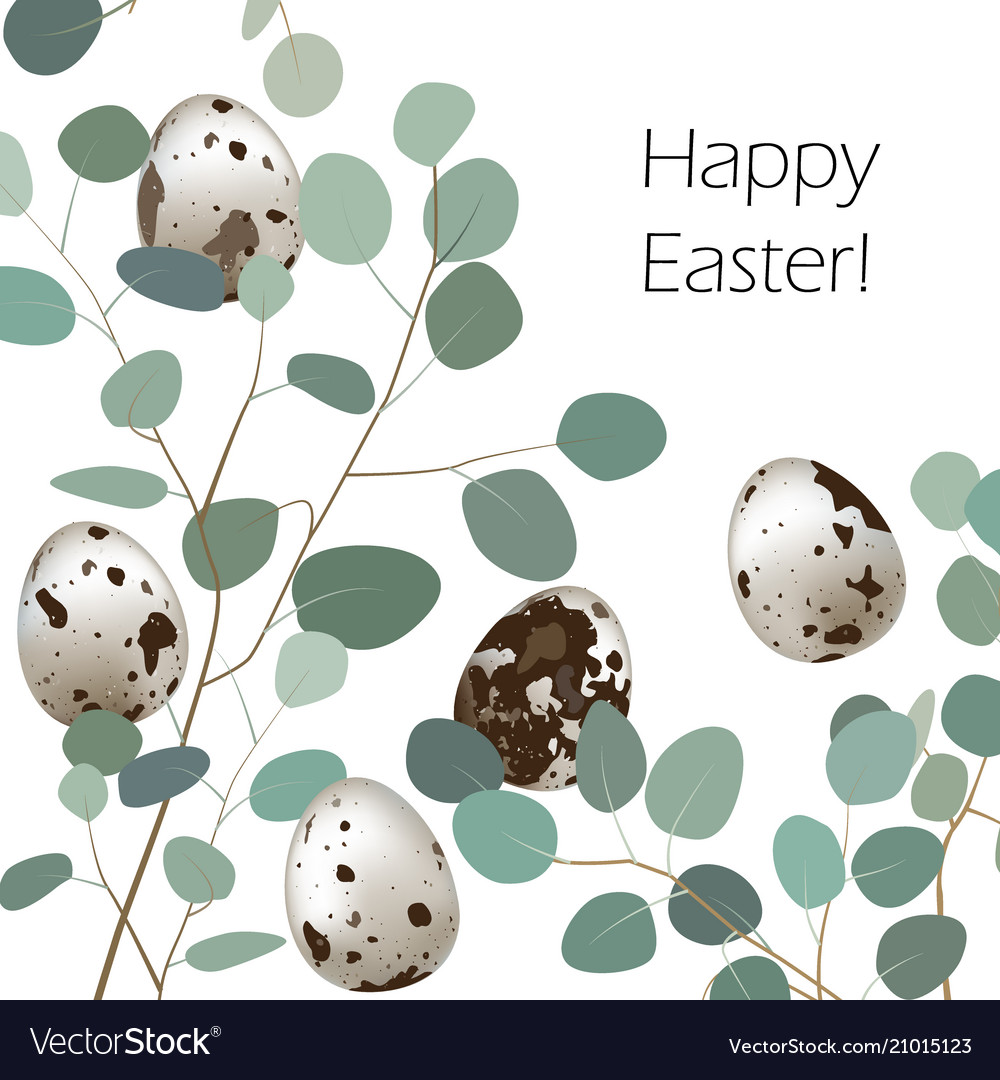 Happy easter or spring greeting card quail eggs
