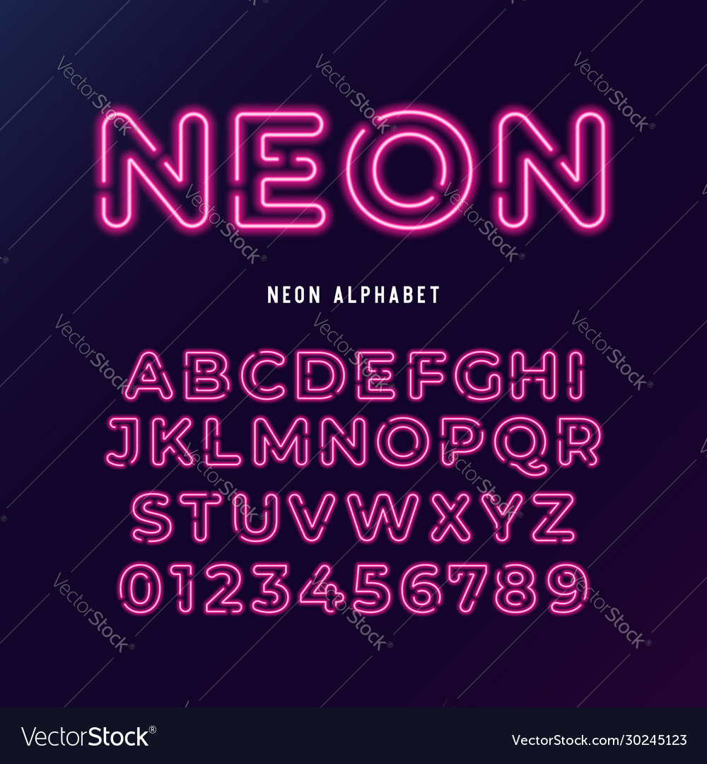 Neon light modern font neon tube letters and
