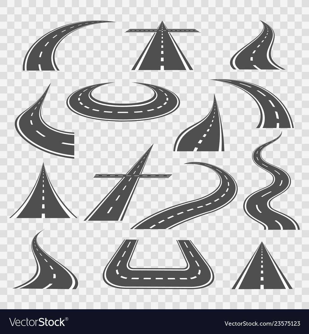 Road curves isolated on transparent