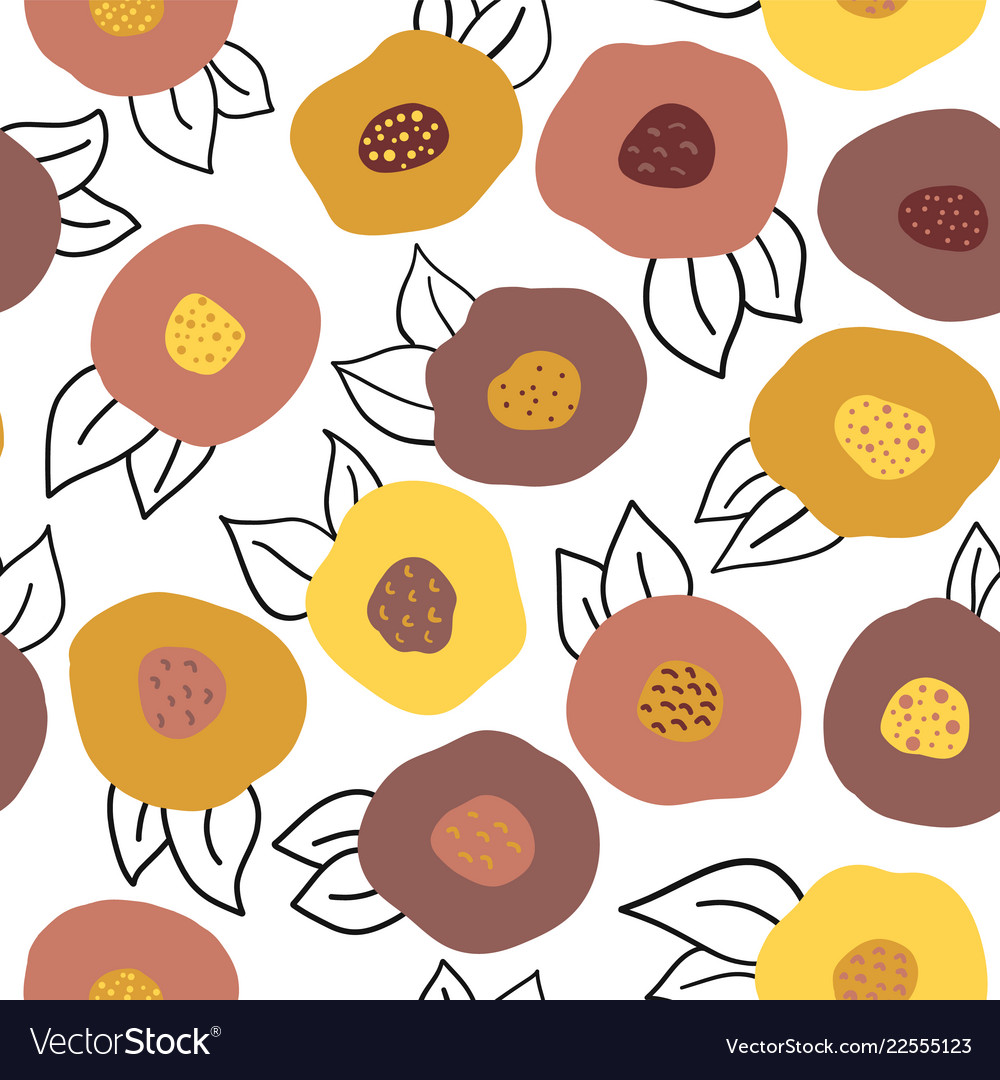 Seamless autumn doodle flowers pattern