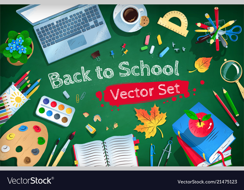Top view back to school set