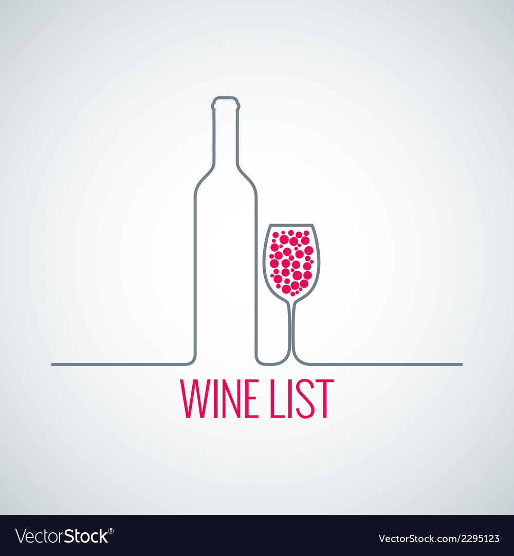 wine bottle glass list menu background royalty free vector