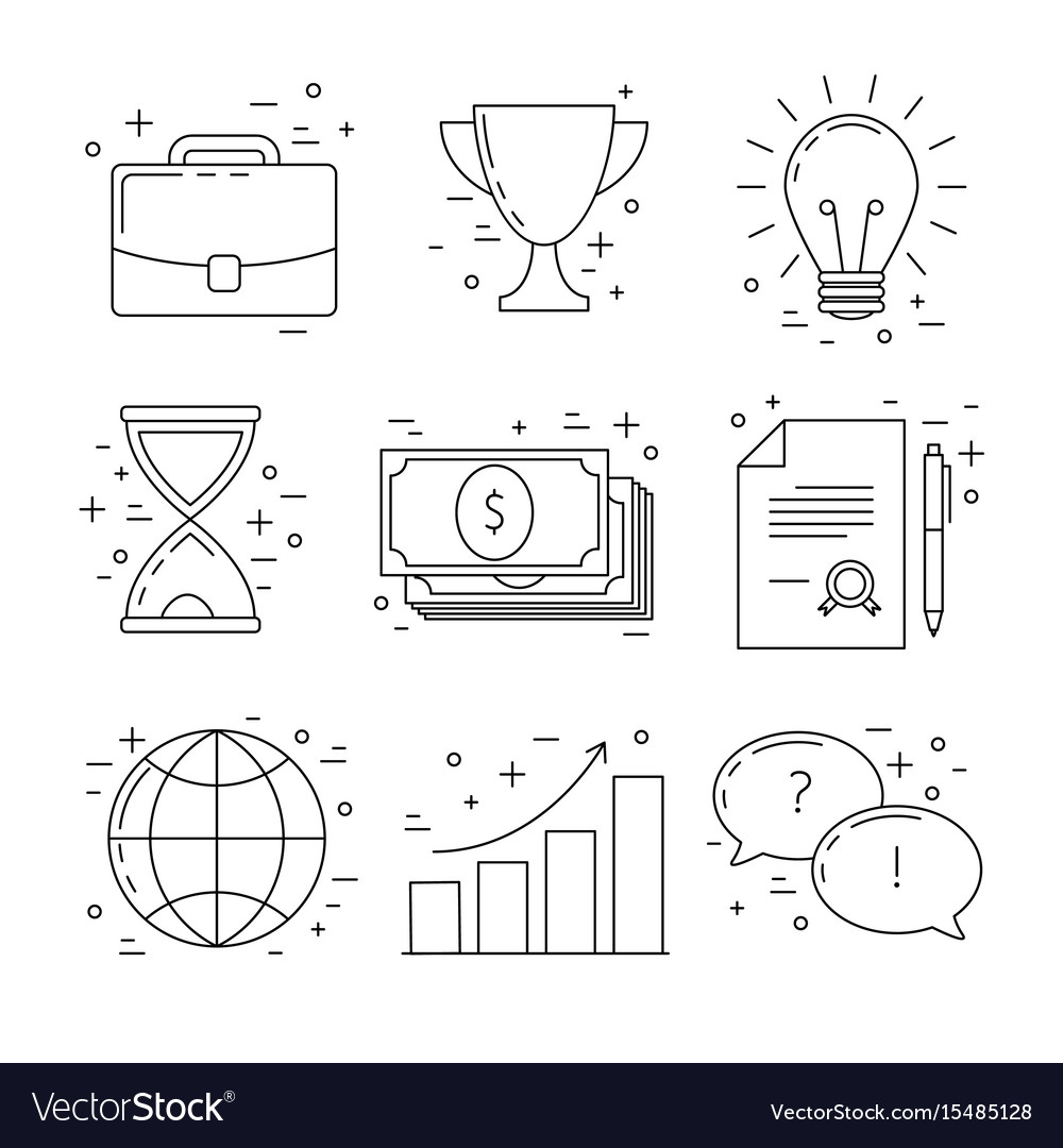 Business line design icons