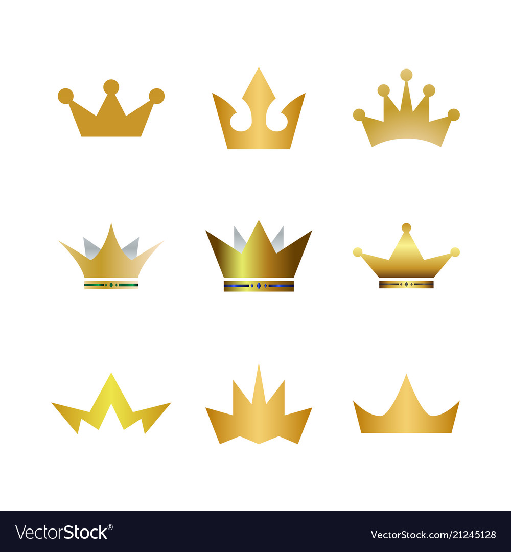 Collection gold crown logo icon element