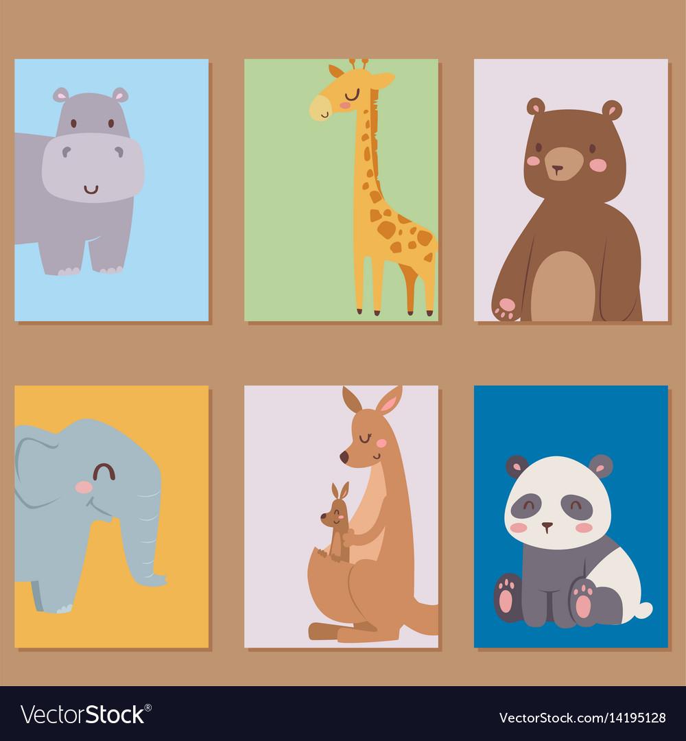 Cute zoo cartoon animals cards funny wildlife