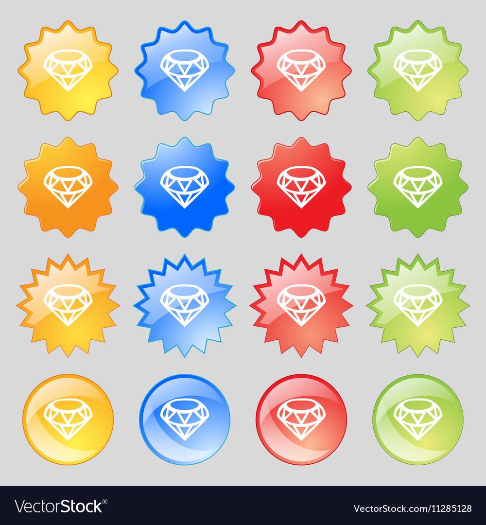 Diamond Icon sign Big set of 16 colorful modern