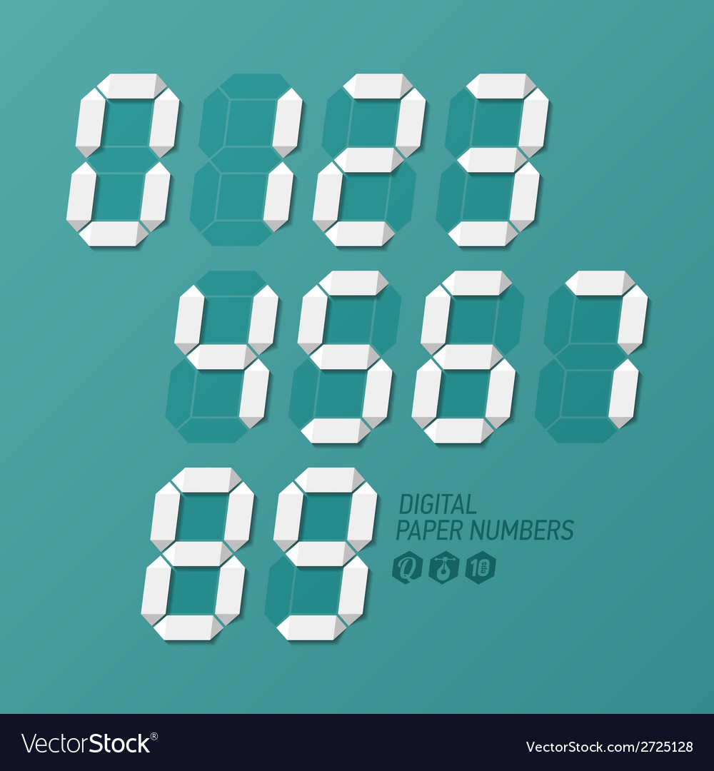 Digital paper numbers set vector image