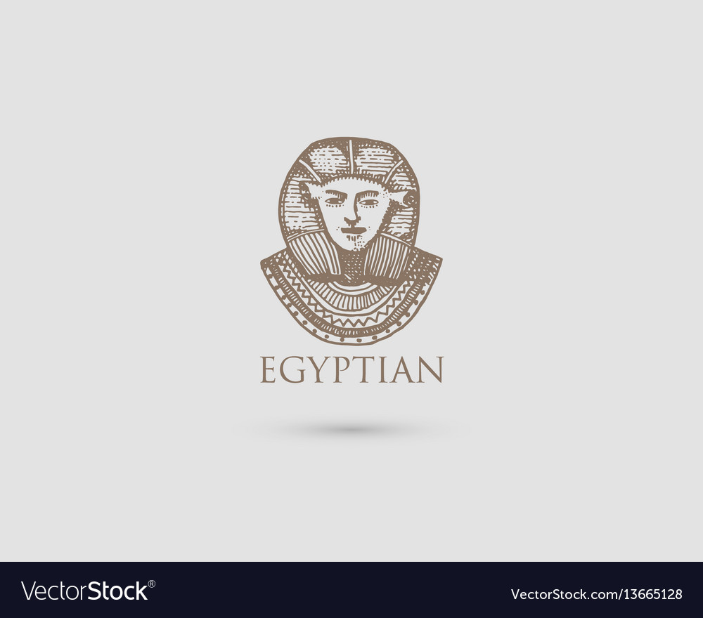 Egyptian pharaon logo with symbol of ancient vector image