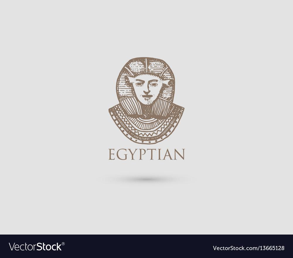 Egyptian pharaon logo with symbol of ancient