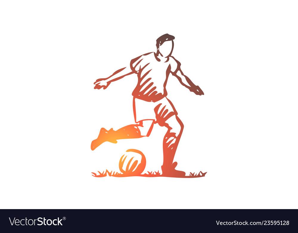 Football player soccer goal kick concept hand