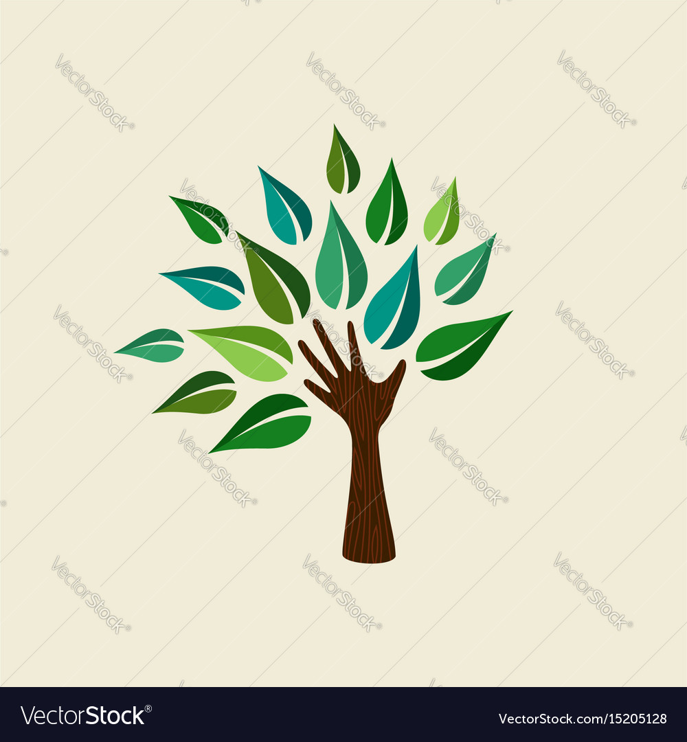 Green hand tree for nature care