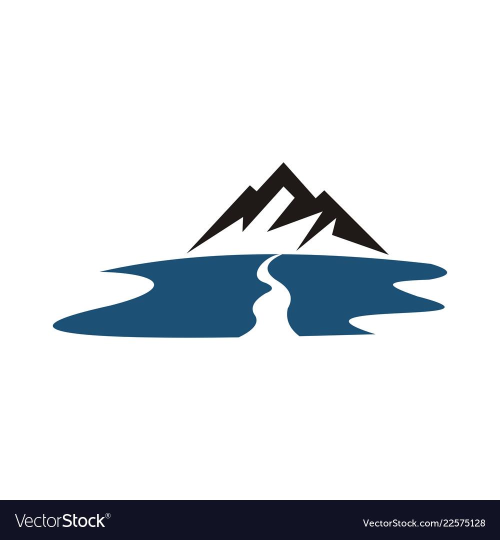 mountain river logo royalty free vector image vectorstock vectorstock