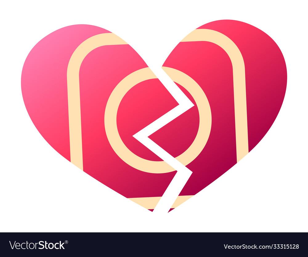 Red heartbreak sign broken heart symbol of