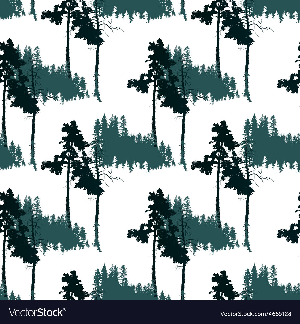 Seamless pattern with forest landscape