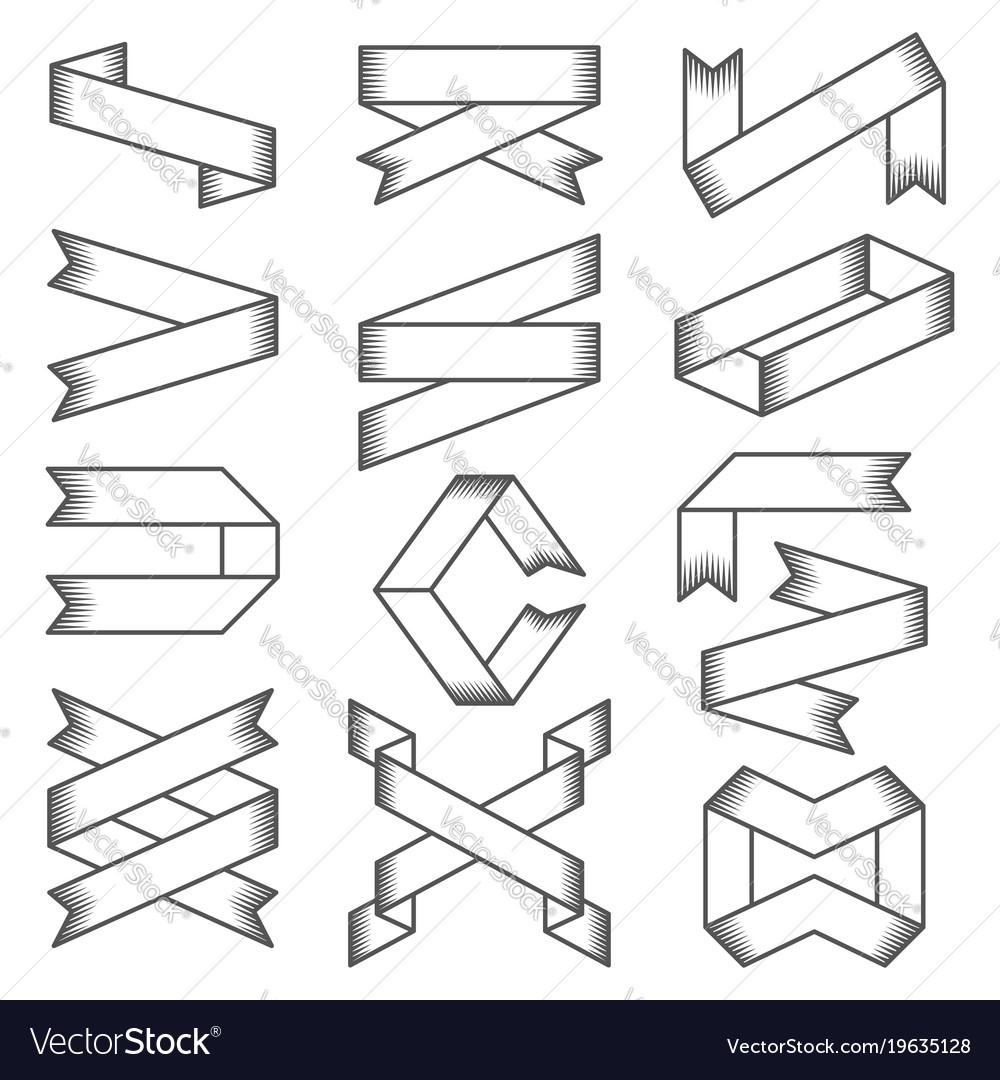 Set of empty emblems ribbons design elements for
