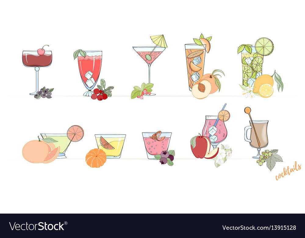 Set of popular alcohol cocktail