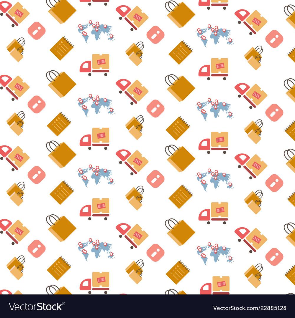 Shopping icons seamless pattern international