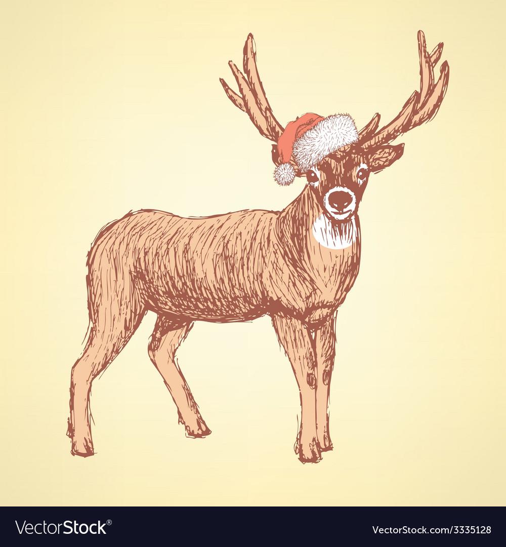 Sketch cute deer in vintage style