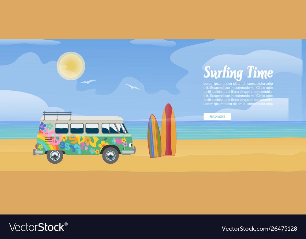 Surfing van on sandy beach surfboard sea
