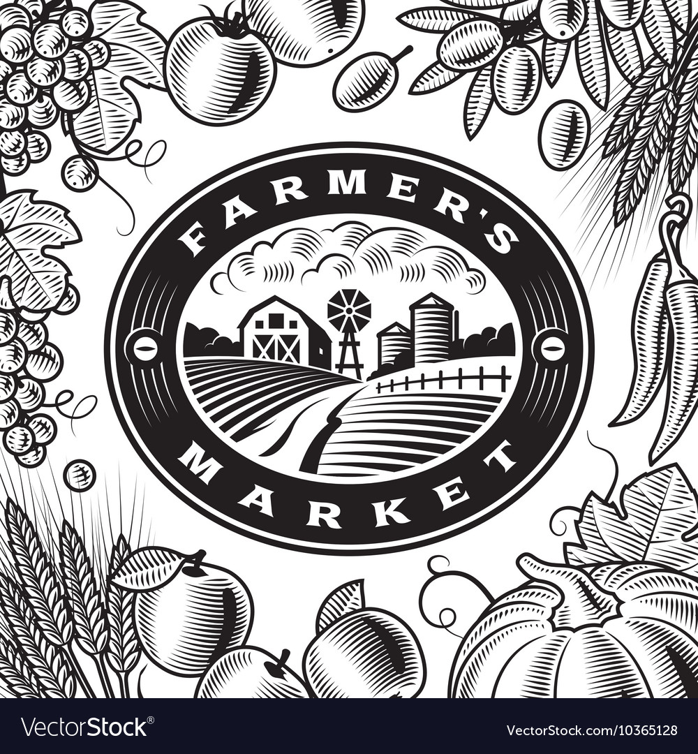 Vintage Farmers Market Label Black And White