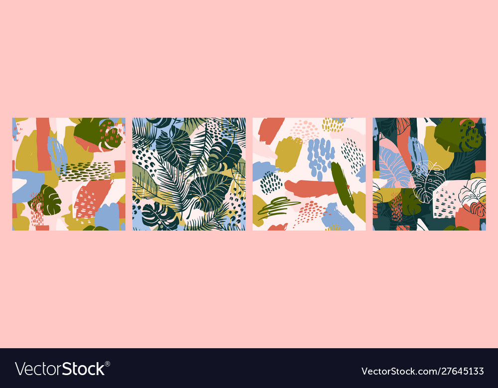 Abstract creative seamless patterns with tropical