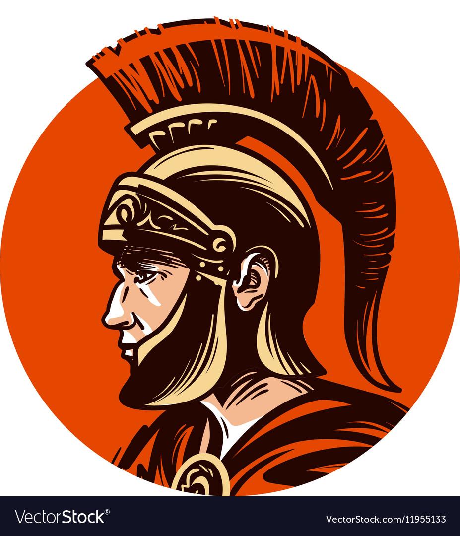 Ancient warrior in helmet symbol