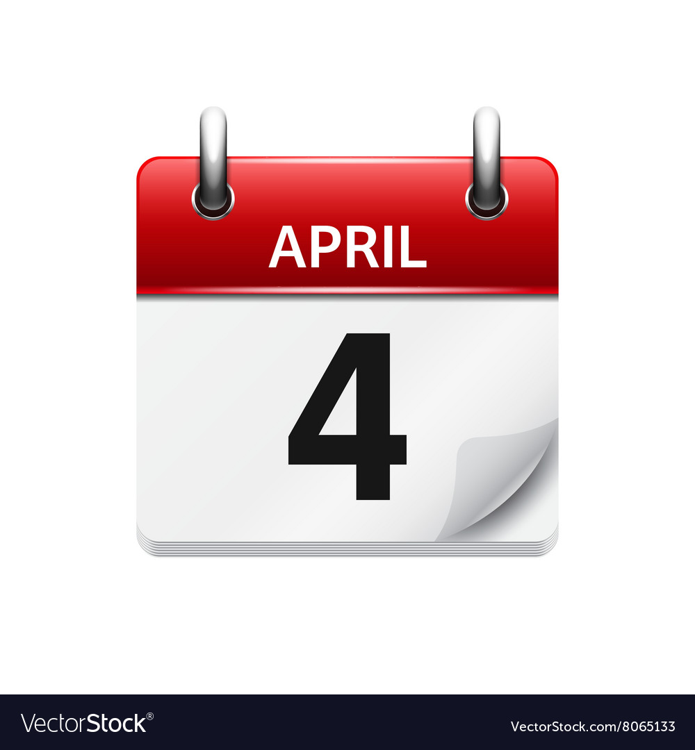april 4 flat daily calendar icon date and vector image