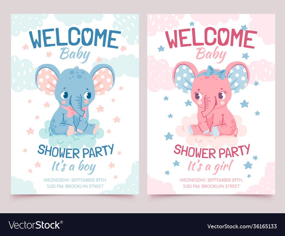 Bashower elephant invitation card for newborn