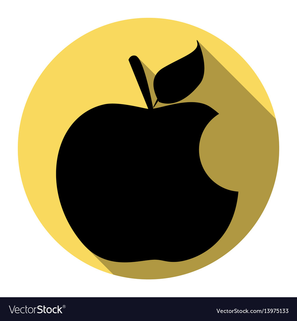 Bite apple sign flat black icon with flat
