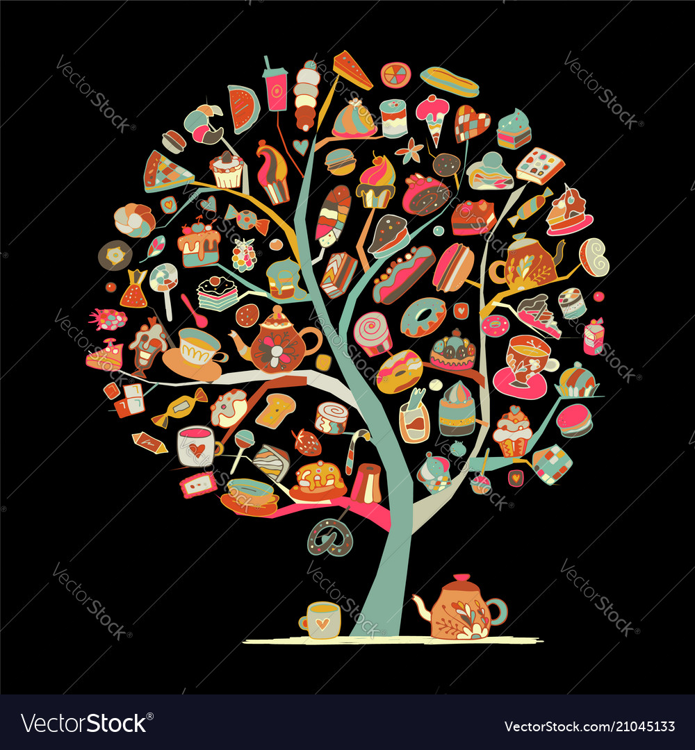 Cakes and sweets art tree for your design