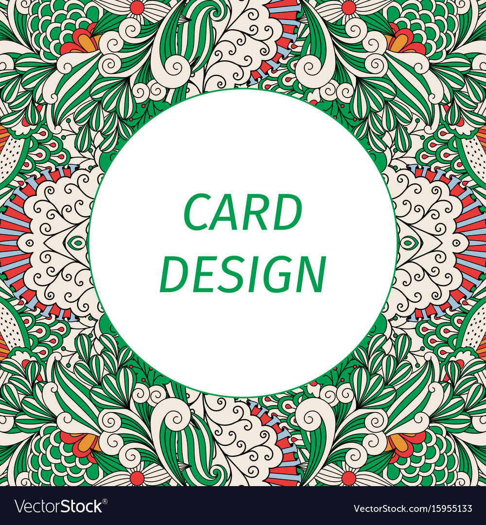 Card design with floral green pattern