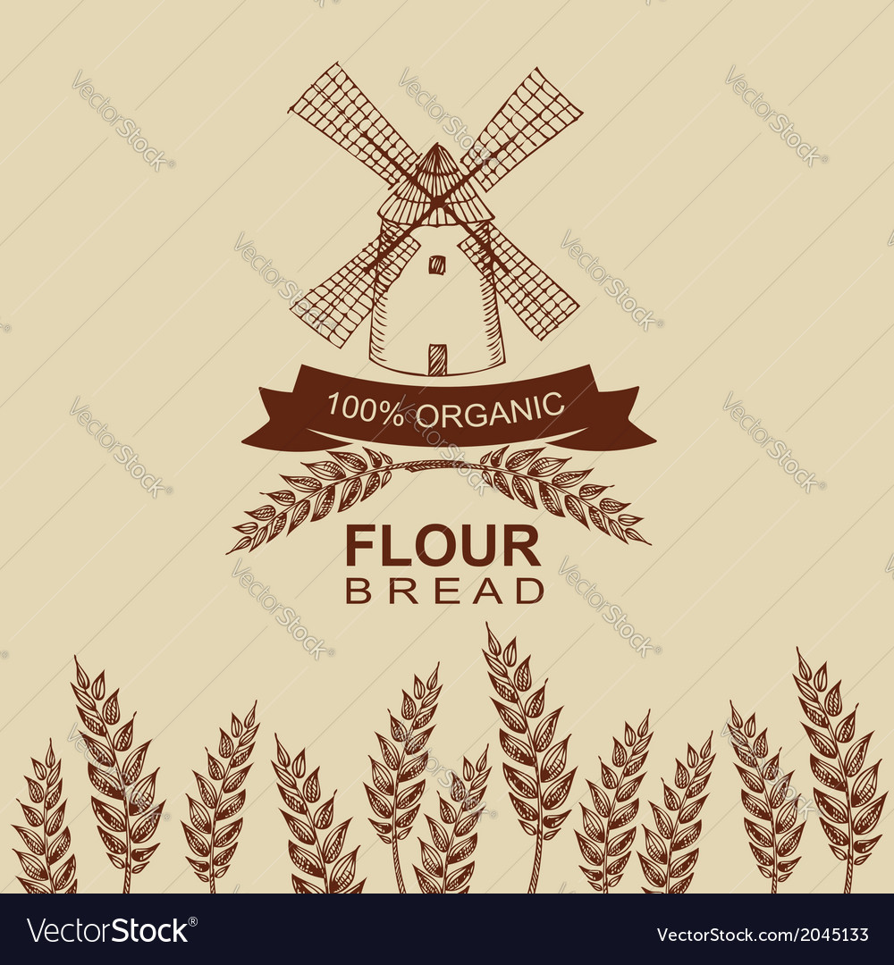 Flour bread label design Bakery retro vector image