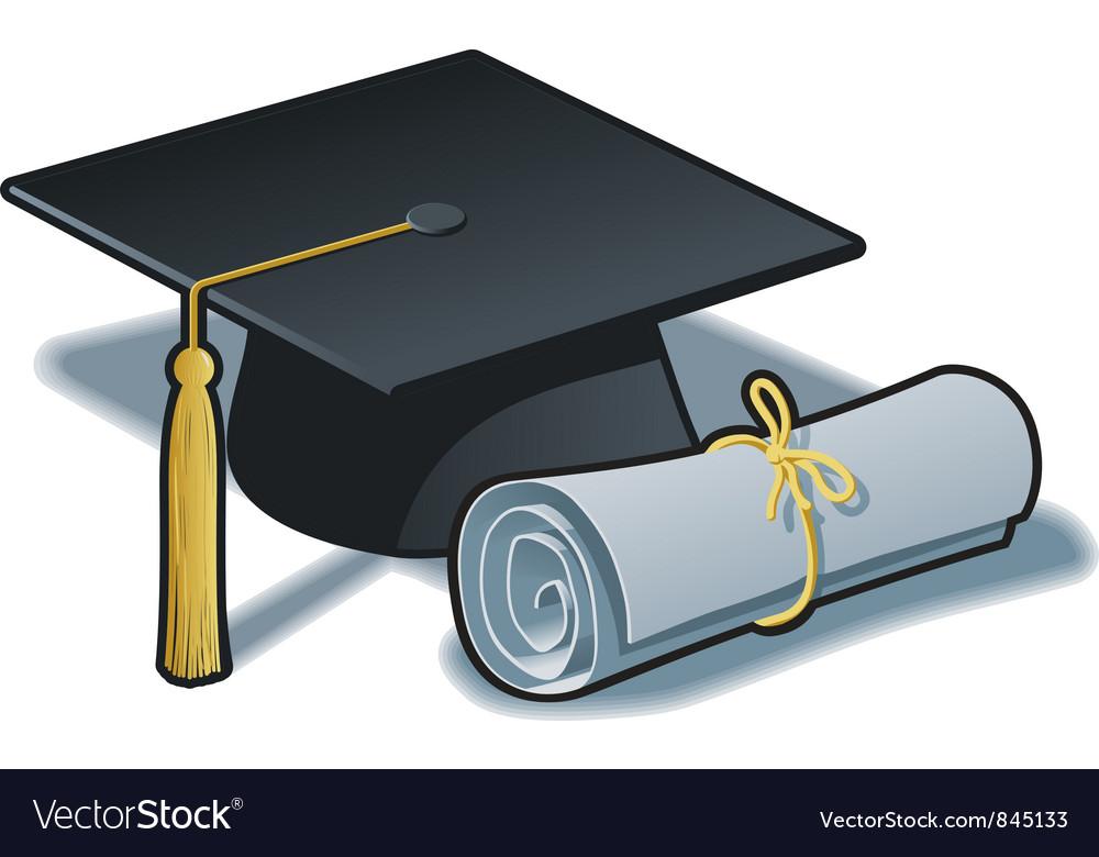 Graduation Hat and Diploma vector image
