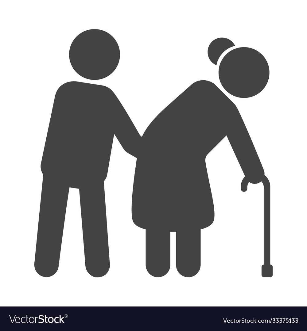 Helping elderly black icon nursing service
