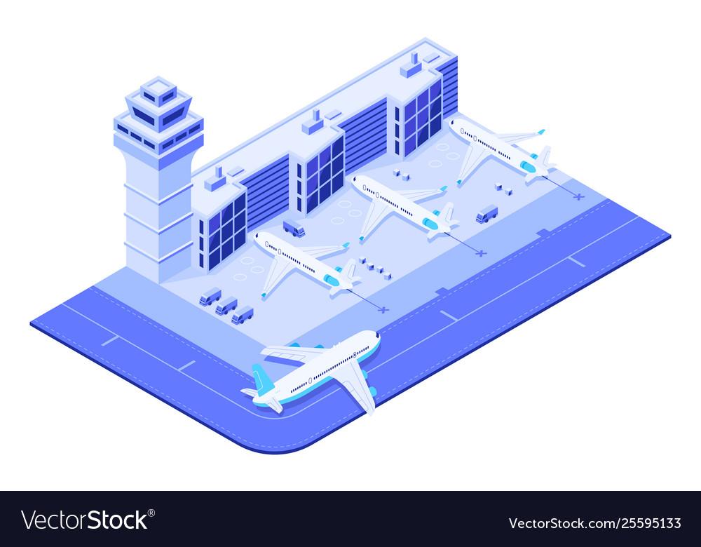 Isometric airport terminal jet airplane on runway