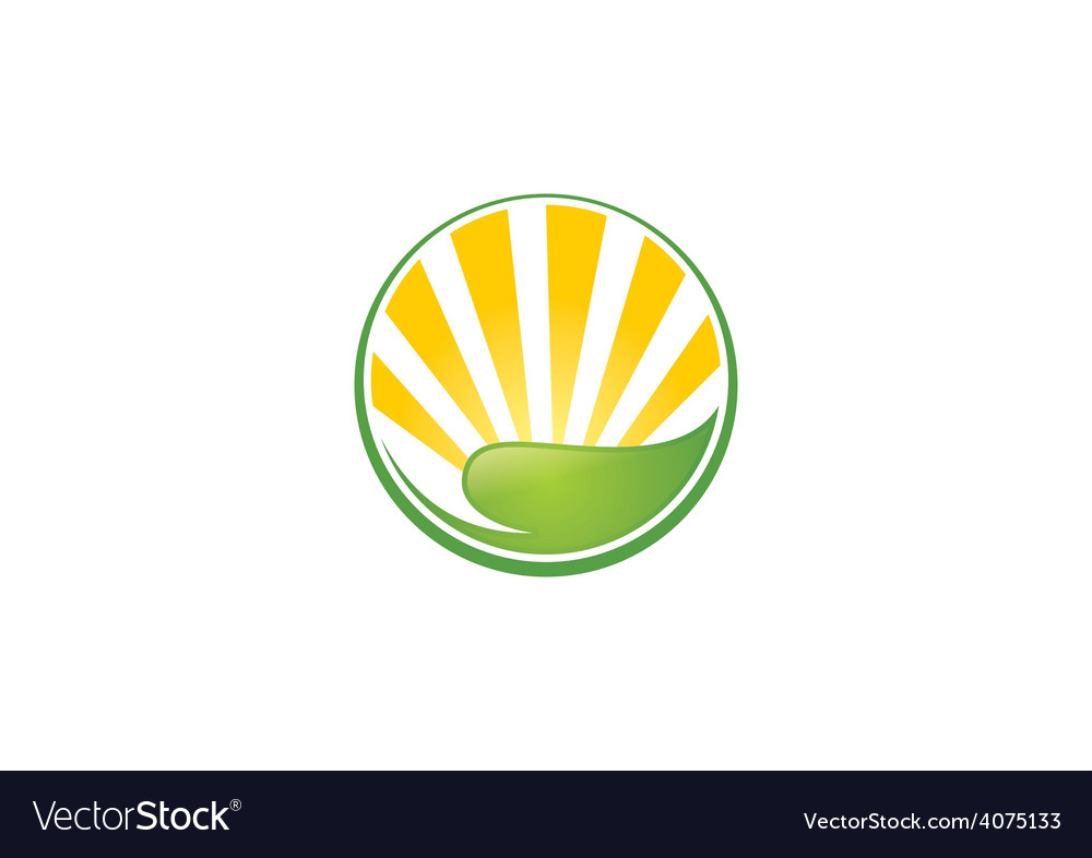 Leaf sun ecology abstract logo