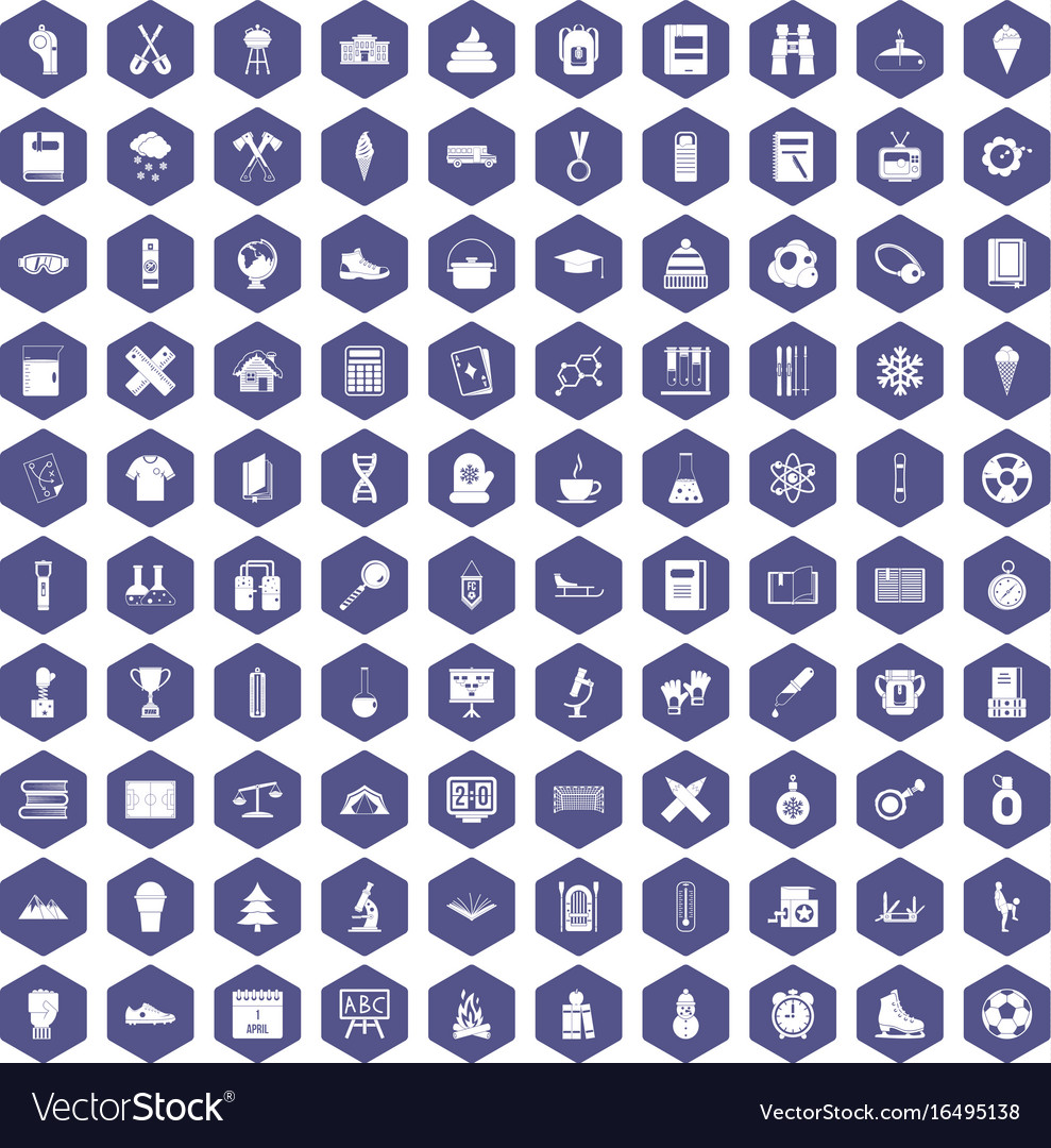 100 school years icons hexagon purple