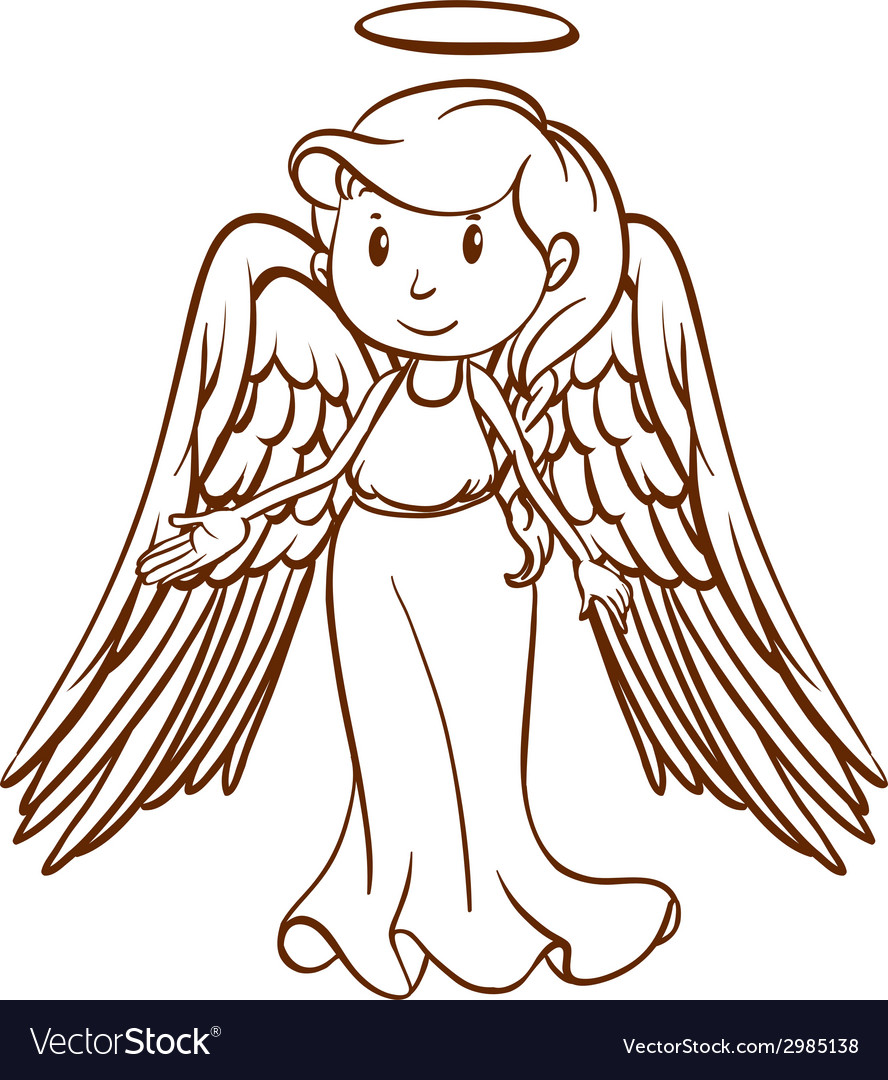 A simple sketch of an angel vector image