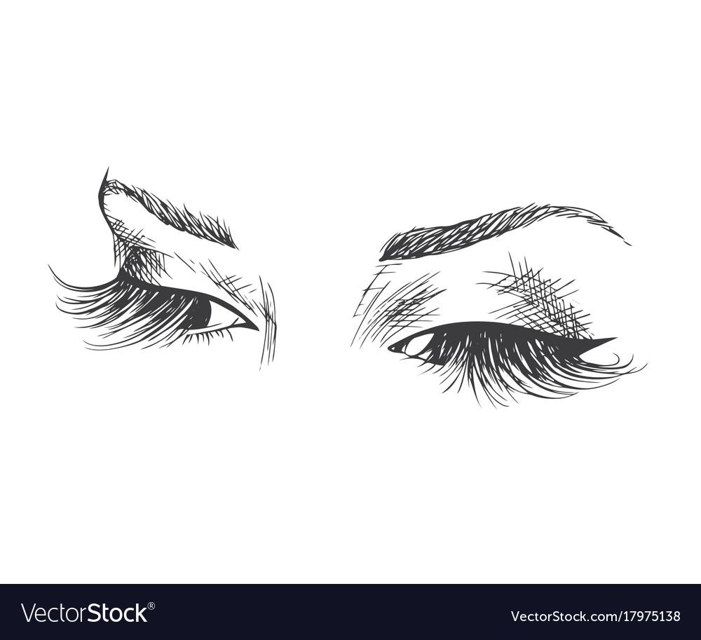 Beautiful eyes with long eyelashes